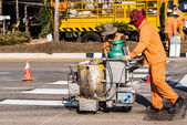 Road Marking Workers at Work. — Stock Photo