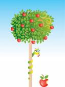 Apple-tree with snake vector — Stock Vector