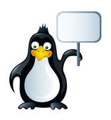 Penguin with board vector — Stock Vector