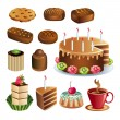 Set of chocolate sweets and cakes icons vector — Stock Vector #66916199