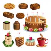 Set of chocolate sweets and cakes icons vector — Stock Vector