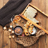 Vilage food on wooden table — Stock Photo