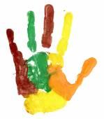 Close-up de impressão de mão colorido em branco — Fotografia Stock