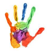 Närbild på färgade handavtryck på vit — Stockfoto
