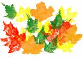 Maple leaves drawn with watercolor,. Hand drawn design element — Stockfoto