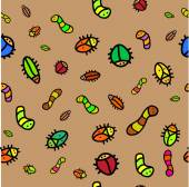 Background with bugs and worms — Stock Vector