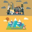 Factory and village landscape. Ecology protection concept — Stock Photo #74498069