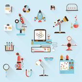Design style modern flat vector illustration icons set of science and technology development. Laboratory workspace — Stock Vector