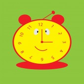 Background with smiling clock for baby — Vector de stock