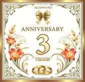 Anniversary card 3 years — Stock Vector