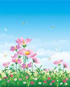 Spring Flowery meadow — Stock Vector