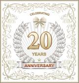 Anniversary card 20 years — Stockvector
