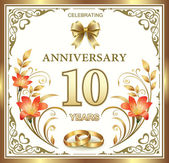 Anniversary card for 10 years — Stock Vector