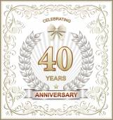 Anniversary card for 40 years — Stock Vector