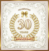 Anniversary card for 30 years — Stock Vector