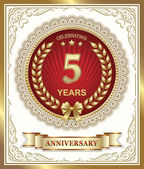 Anniversary card for 5 years — Stock Vector