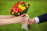 Close up of beautiful bouquet of fresh flowers — Stock Photo