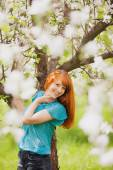Happy Woman with Gorgeous Red Hair — Stock Photo