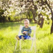 Portrait of cute little boy sitting on white painted wooden chai — Stock Photo #73486629