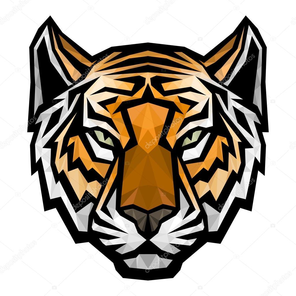 t234te de tigre mascotte du logo sur fond blanc � image