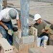Bricklayers Installing Soldiers — Stock Photo #66515511