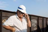 Railroad Engineer on Phone — Stock Photo