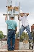 Bricklayer Teamwork — Stock Photo