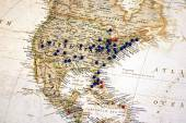United States with Map Tacks — Stock Photo