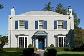 Gray House with Blue Accents — Stock Photo