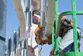 Welding in Tight Places — Stock Photo