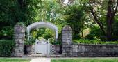 Stone Wall with Garden Gate — Stock Photo