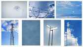 Blue Background Collage — Stock Photo
