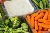 Vegetable tray with dip. — Stock Photo
