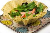 Shrimp tostada bowl salad. — Stock Photo