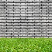 Brick and grass texture background — Foto de Stock