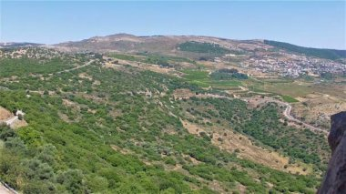 Panoramic view of the Golan Heights from fortress Nimrod — Stock Video