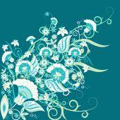Retro-floral-ornament-blue — Stock Vector
