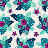 Floral print grunge background — Stok Vektör
