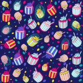 Party  pattern with cupcakes — Stock Vector