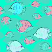 Abstract Pattern with fish — Vettoriale Stock