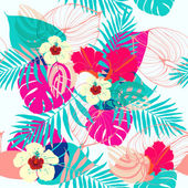 Seamless tropical floral pattern. — Stock Vector