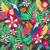 Palm leaves and parrots — Vector de stock