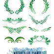 Wreaths and framework of watercolors of plants — Stock Vector #73363119