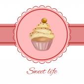Greeting card with watercolor cupcake — Stock Vector