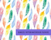Pattern with colorful watercolor feathers — Stockvector