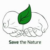 Theme of nature conservation with human hands — Stock Vector