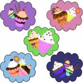 Cupcake stickers. — 图库矢量图片