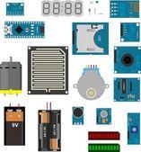 Arduino electronic elements — Stock Vector