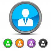 Round Businessman icon — Vetor de Stock