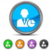 Round Businessman icon — Stock Vector